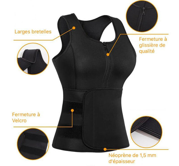 Sauna Sweat Waist Trainer Vest with Zipper for Weight Loss