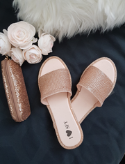 Glitter rose gold Slippers Women Flat Sandals