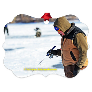 "tree ornament (4"" x 3"")-- Budd Lake,  ice fishing"