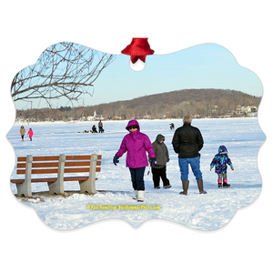 "tree ornament (4"" x 3"")-- Budd Lake, frozen"