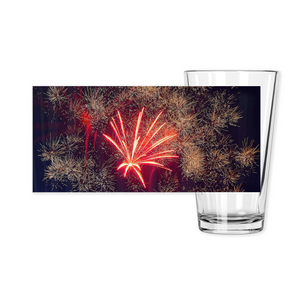 Pint Glasses-- fireworks 9890