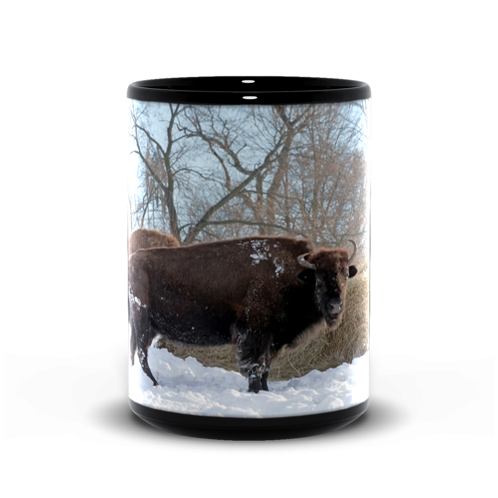 15oz black mug— snow bison