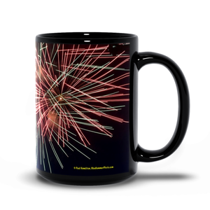 15oz black mug—  fireworks 9953