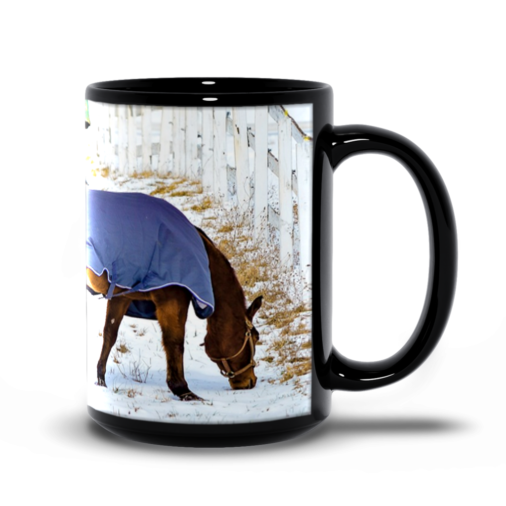 15oz black mug— Long Valley, horse blankets 513