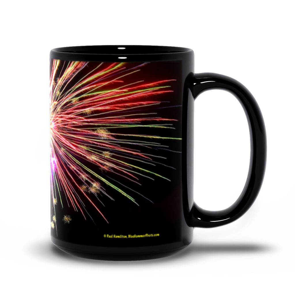 15oz black mug— fireworks 1363