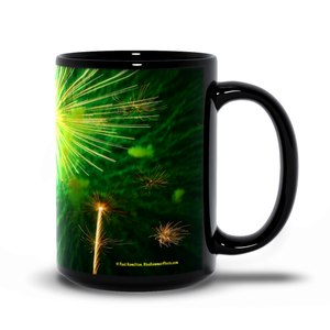 15oz black mug-- fireworks 9940