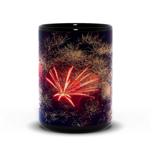 15oz black mug-- fireworks 9890