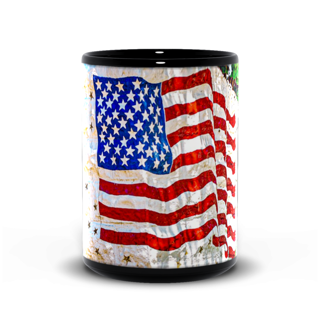 15oz black mug-- stone flag
