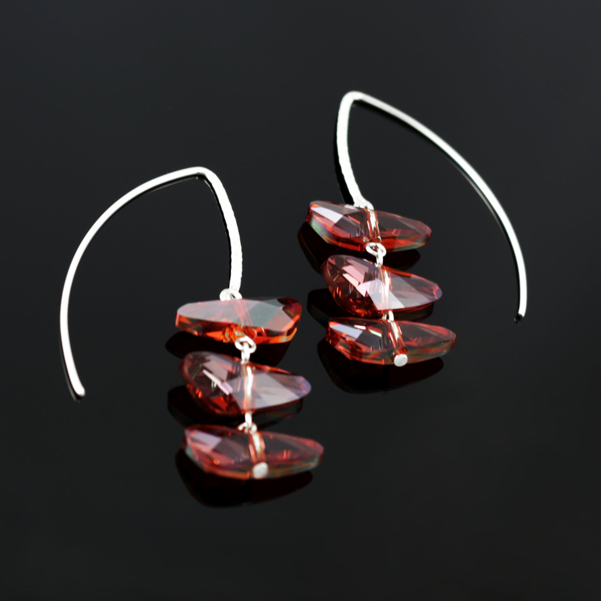 Reflections Earrings in Red Magma