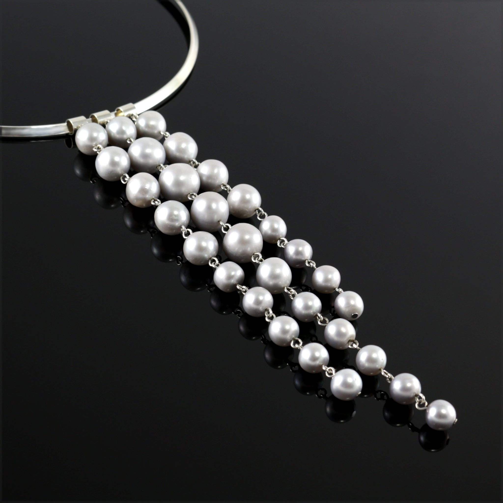 Waterfall Change-ABLE Necklace in Grey Pearl