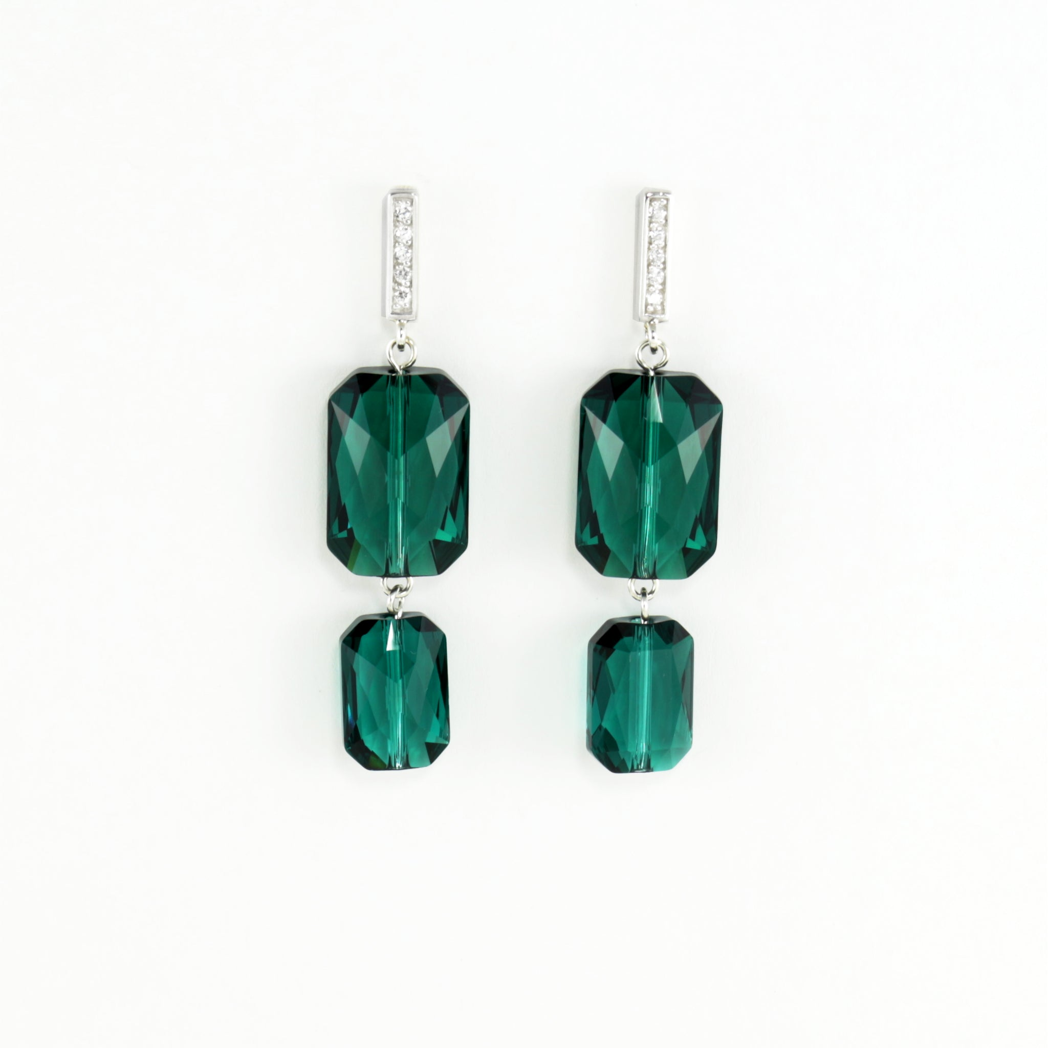 Plaza Earrings in Emerald