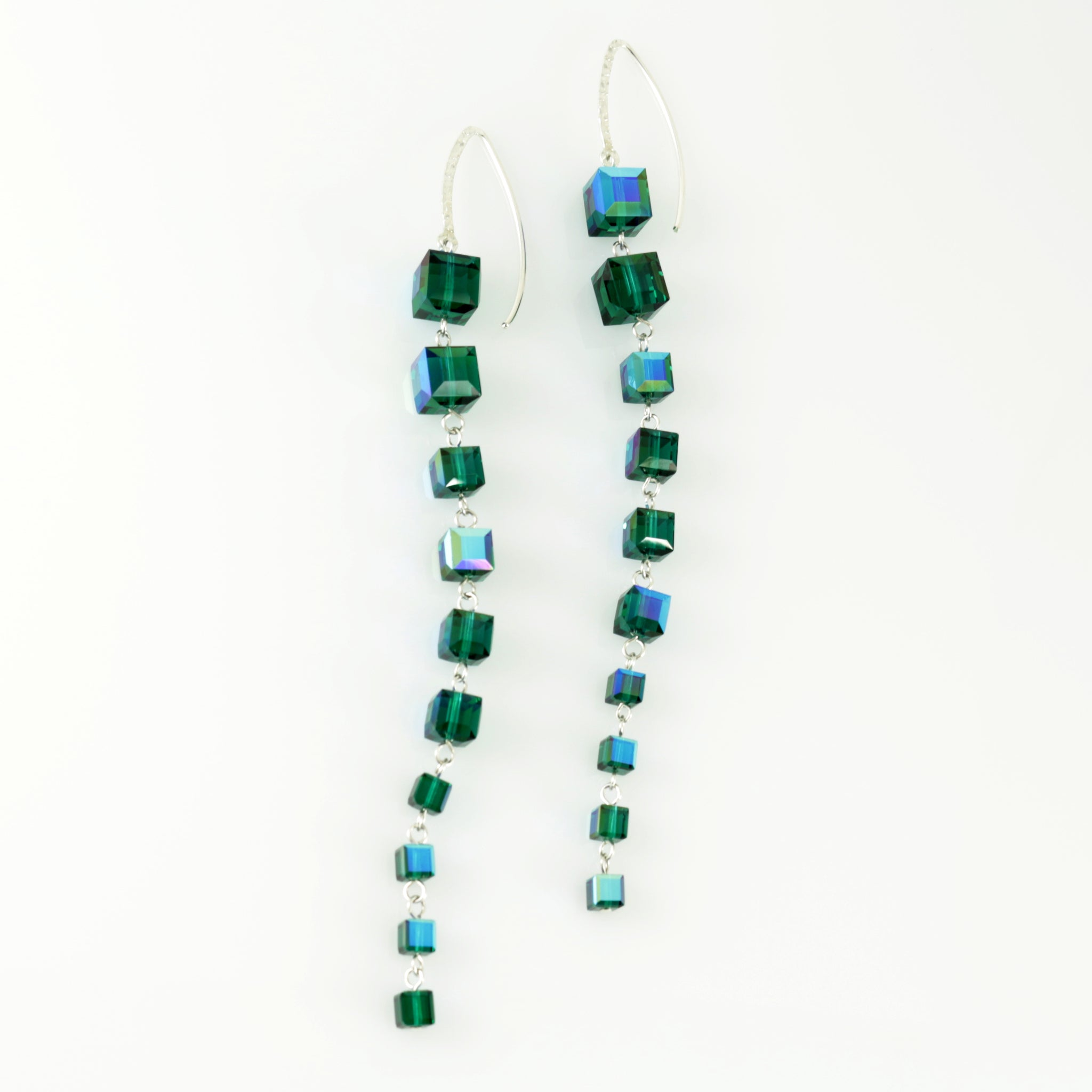 Windows Earrings in Emerald AB Extra Long