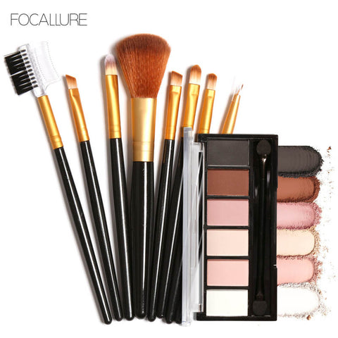FOCALLURE Pro 6 Colors Eyeshadow Shimmer Matte Palette with Makeup Brush Set