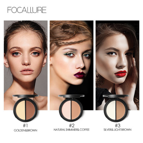 FOCALLURE 2 Tone Bronzer/Highlighter/Concealer Compact - 6 Compact Shades to Choose