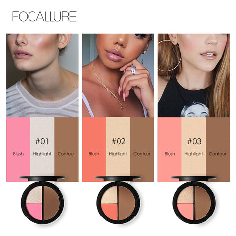 FOCALLURE 3 Color Mineral Shimmer Bronzers, Highlighter, Powder Makeup