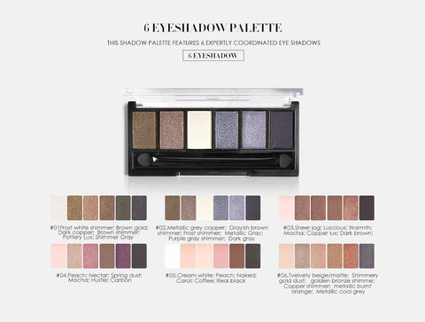 Focallure Glam Smokey 6 Color Mineral Eyeshadow Palettes