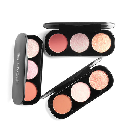 FOCALLURE 3 Color Mineral Blush & Highlighter Palettes - 3 Color Palettes to Choose