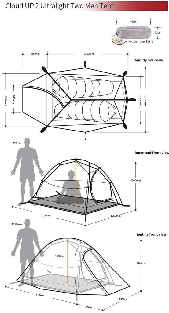 Cloud UP2 Backpacking Tent (2 Person) – ZenDen Outdoor