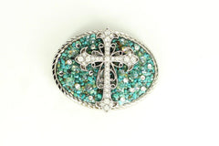 Oval Cross & Turquoise Buckle