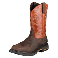 Ariat Mens Dark Earth WorkHog Wide Square Toe Steel Toe Work Boot