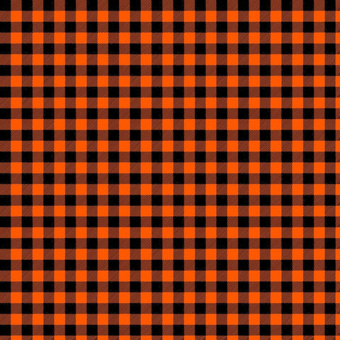 Orange and Black Plaid Adhesive