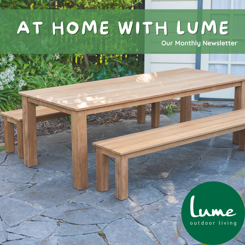 lume outdoor living newsletter brooklyn bench setting