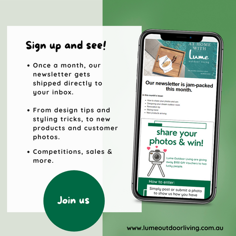 lume outdoor living newsletter sign up