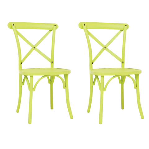 Set of 2 Vintage Mesh Chairs Green