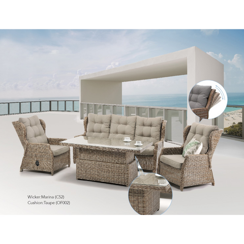 "Anglesea Recliner 4pce Outdoor Wicker Lounge ""Marina"" - Due June"