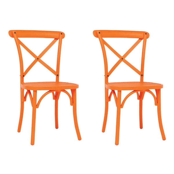 Set of 2 Vintage Mesh Chairs Orange