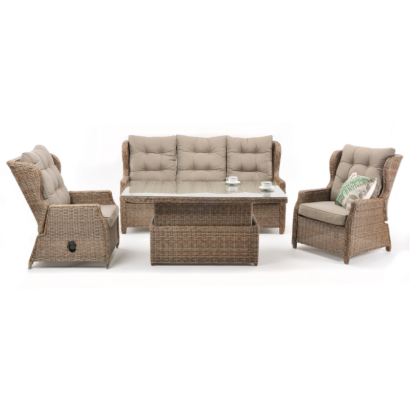 "Anglesea Recliner 4pce Outdoor Wicker Lounge ""Marina"""