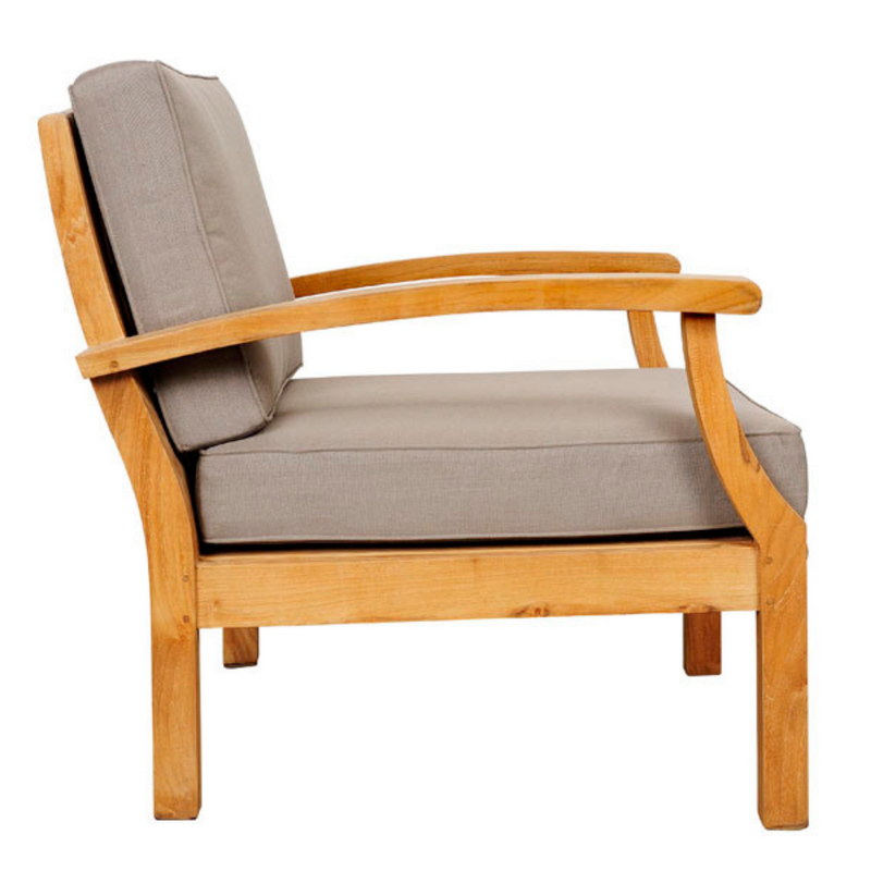 lombok teak outdoor lounge chair with grey cushions side view