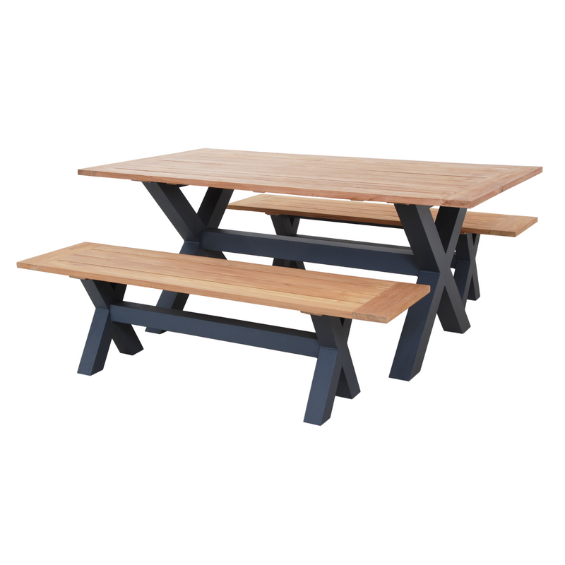 Sense Teak Cross Leg Table + Bench Setting in Grey 3 piece