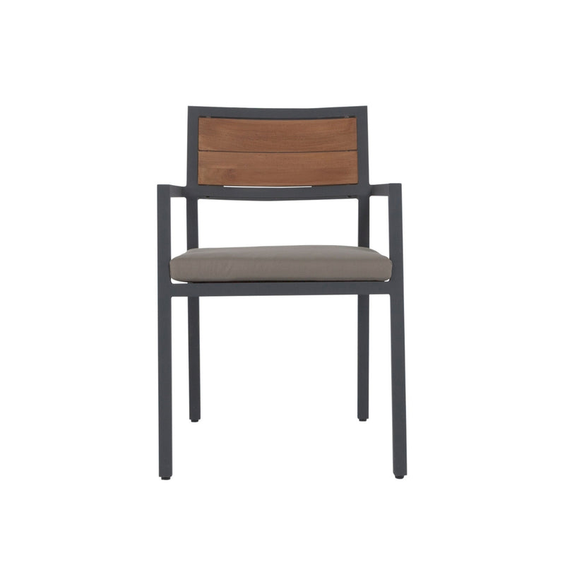 backer teak and aluminiun chair front view