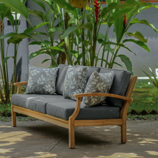 lombok  outdoor 3 seater daybed in teak lifestyle photo with trees