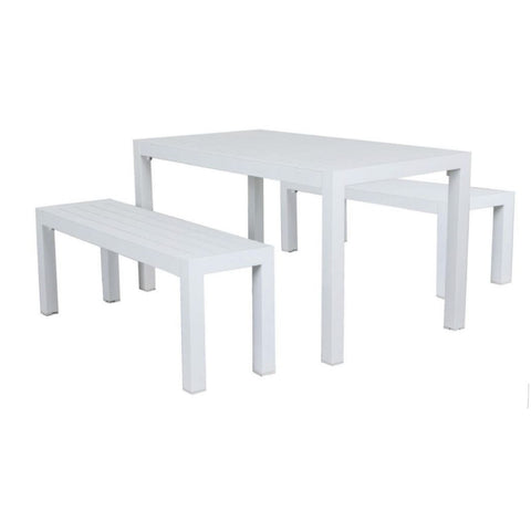Matzo Small Bench Dining Setting - white