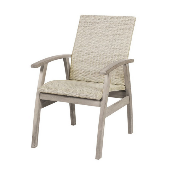 Flinders Wicker & Teak Dining Chair - white wash
