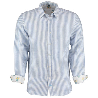 Mens Tobias Shirt, Blue And White Striped