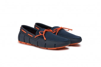 Mens Swims Navy And Orange Braided Lace Loafer