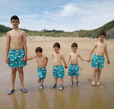 Turquoise Whales - Boys Swim Shorts