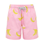 Boys Designer Swim Shorts, Pink Bananas