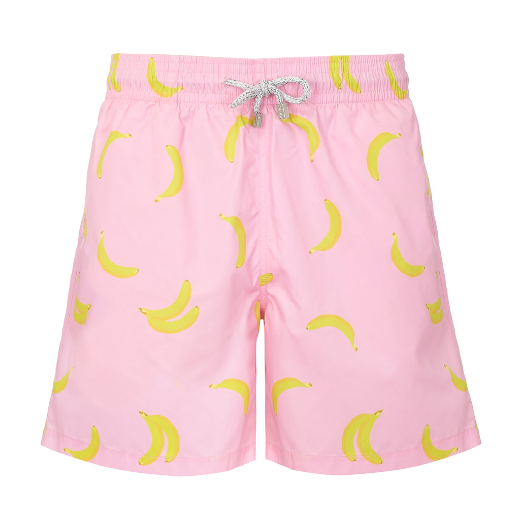 Father and Son Designer Swim Shorts, Pink Bananas