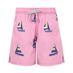Boys Designer Swim Shorts, Pink Sailing Boats