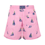 Father and Son Designer Swim Shorts, Pink Sailing Boats