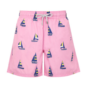 Pink Sailing Boats - Men's Designer Swim Shorts - RobertandSon