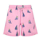 Pink Sailing Boats - Men's Designer Swim Shorts