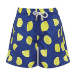 Boys Designer Swim Shorts, Blue Lemons