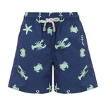 Boys Designer Swim Shorts, Navy Ocean Adventure