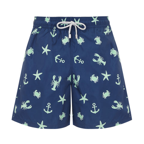 Navy Ocean Adventure Men's Designer Swim Shorts Front