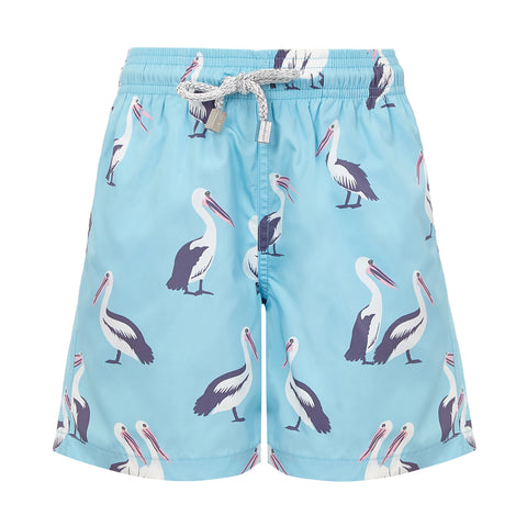 Light Blue Pelicans - Boys Swim Shorts